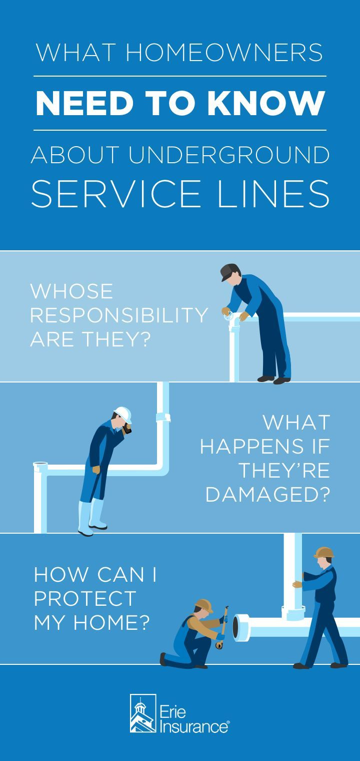 Some homeowners don't know this, but service lines on your property are generally your responsibility -- not the utility company's. That means if something happens to your water, sewer, or natural gas lines, you could be on the hook to pay for repairs. Fortunately, Erie Insurance has a way to get you covered. Find out how. #safety