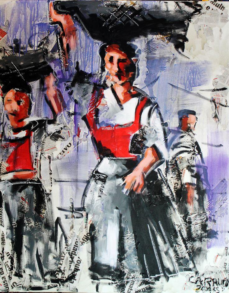 """""""Varina"""" / """"Fishwife"""" Técnica mista sobre tela / Mixed media on canvas 100 x 80 cm 2015"""