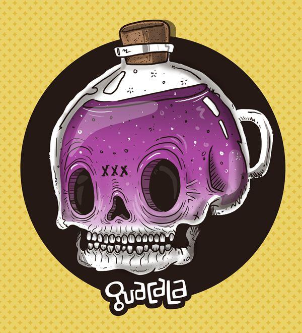 Poison bottle Guacala /// Serie Skulls // Stickers