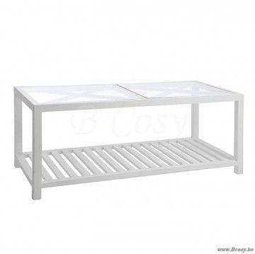 """J-Line Witte salontafel met kruisen bovenaan en glazen blad 110 <span style=""""font-size: 0.01pt;"""">Jline-by-Jolipa-40012</span>"""