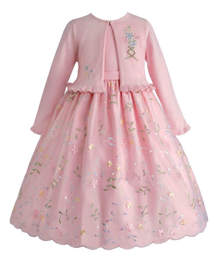 Ice Pink Floral Dress & Cardigan - Infant, Toddler & Girls