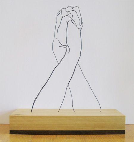 Hands Clasped | Gavin Worth ( Steel Wire Sculptures ) | http://www.gavinworth.com/   #art