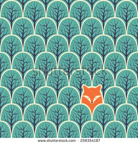 Fox in a forest seamless pattern. Vector design background. - stock vector