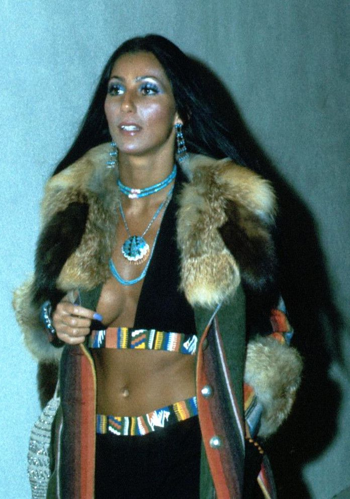 Cher attending the Rocky premiere in 1974