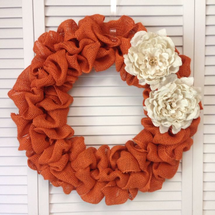 "Large Orange Burlap Wreath, Fall Wreath, 18"" or 22"" Orange Burlap Wreath with Cream Burlap Flowers, Large Door Wreath - pinned by pin4etsy.com"