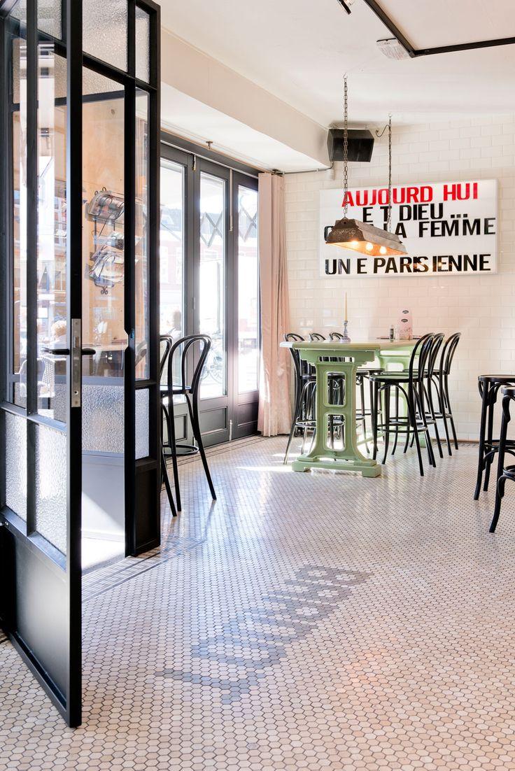 Doors and floors!  Brasserie Bardot | Breda #floortext #floor #tiles