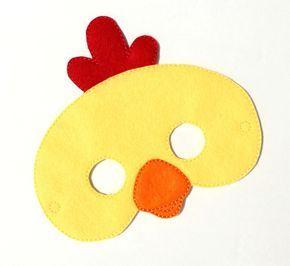 Pollo máscara, traje de pollo, fieltro máscara, máscara de la cara de los niños, máscara de Animal, disfraz de Halloween, juegos de simulación, Dress Up, favores de partido, traje de los cabritos