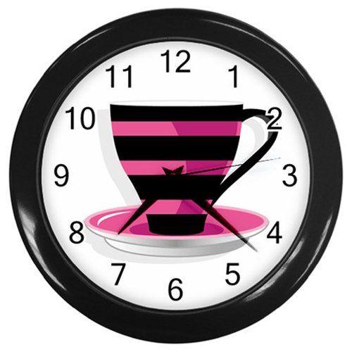 Pink+Black+Stripes+Coffee+Cup+Black+Frame+Kitchen+Wall+Clock