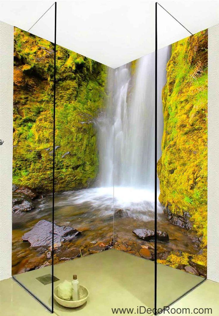 3D Wallpaper Waterfall Rocks Wall Murals Bathroom Decals Wall Art Print Home Office Decor