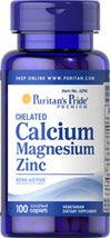 Buy Chelated Calcium Magnesium Zinc 100 Caplets & other Calcium Supplements. Puritan's Pride offers a high   quality Calcium / Magnesium / Zinc supplement.
