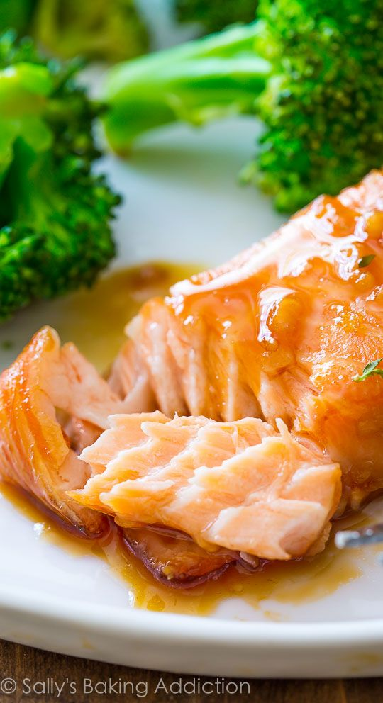 Simple glazed salmon with honey, garlic, and ginger glaze! 6 ingredients for the ENTIRE meal!