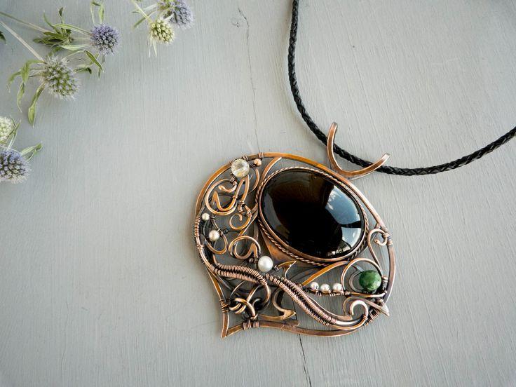 Stubborn Thistle flower - wire copper pendant by UrsulaOT.deviantart.com on @deviantART
