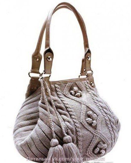 Вязание модной сумочки спицами
