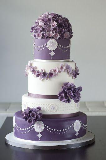 Purple Hydrangea Wedding Cake