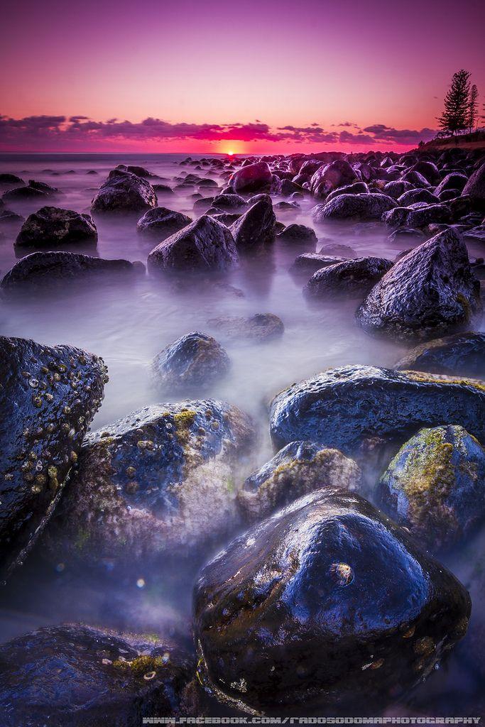 Sunrise Burleigh Heads Beach Gold Coast Australia.
