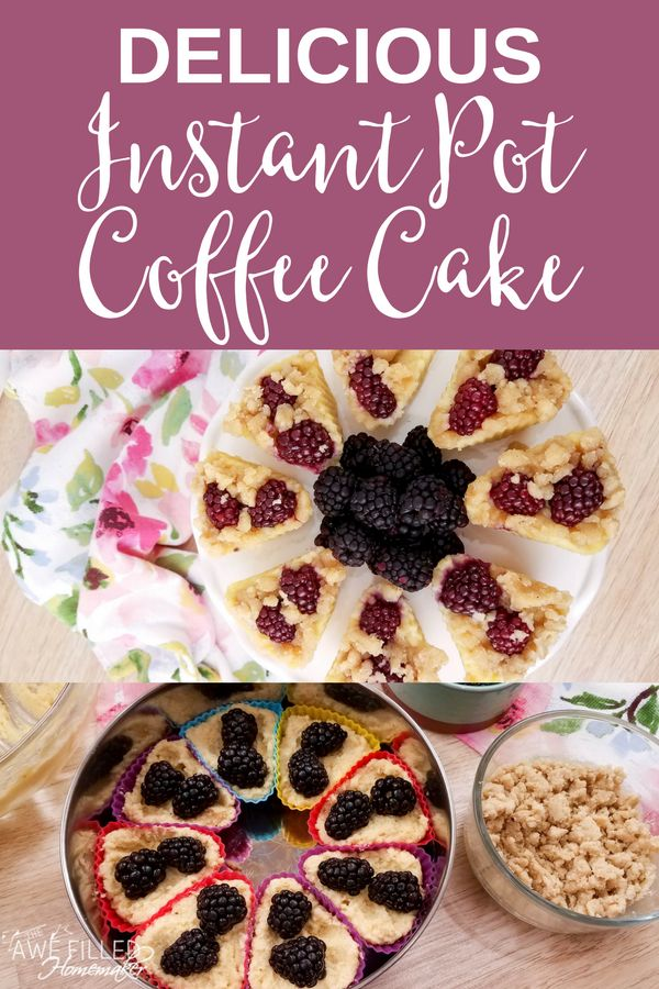 Recently I shared my Instant Pot Frittata Muffin recipe. Well, this delicious instant pot coffee cake is perfect paired with the frittata muffins. Perfect for brunch!!! YUM! #instantpot #pressurecooker #coffeecake #dessert #awefilledhomemaker via @AFHomemaker