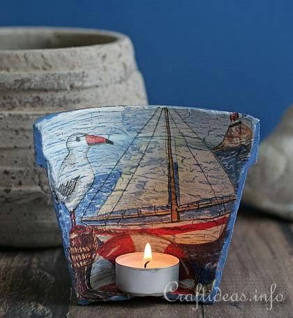 If kitschy crafts are your thing, the interior of a pot can become a cute backdrop for a glowing tea light. See more at Craft Ideas »   - CountryLiving.com