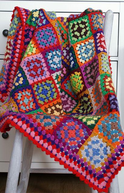 blanketCrochet Blankets, Colors Crochet, Crochet Afghans, Granny Square Blanket, Crochet Rugs, Squares Blankets, Crochet Throw, Granny Squares, Bright Granny