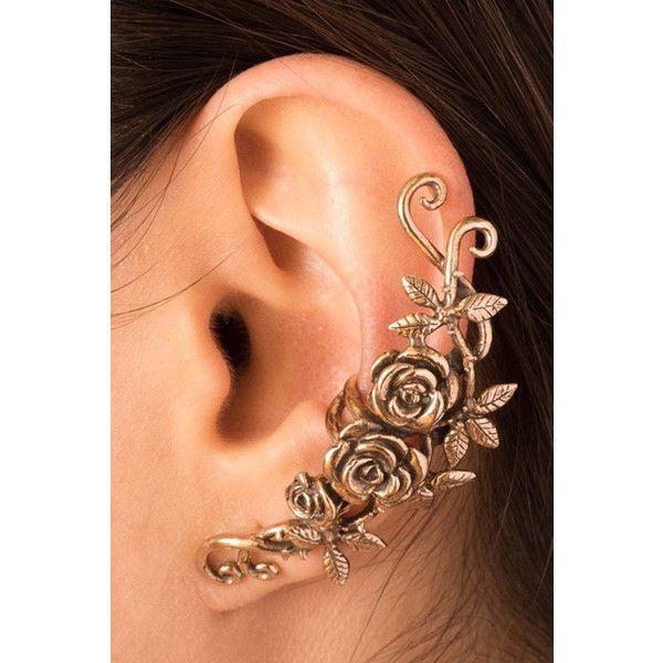 Flower Ear Cuff Floral Ear Cuff Rose Ear Cuff Bronze Rose Tendril Ear... ($93) ❤ liked on Polyvore featuring jewelry, earrings, wrap earrings, long earrings, ear cuff, earring ear cuff and vine earrings