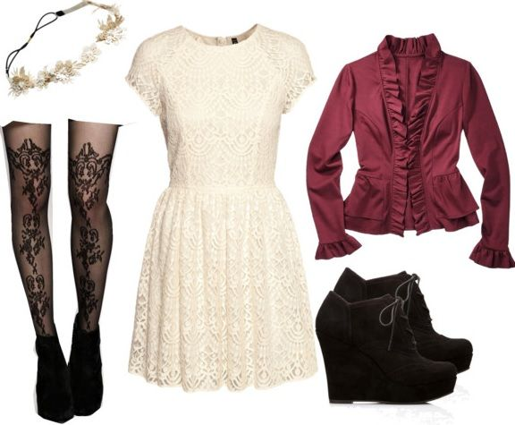 Patterned tights with a lacey, simple dress and a colored jacket go great together