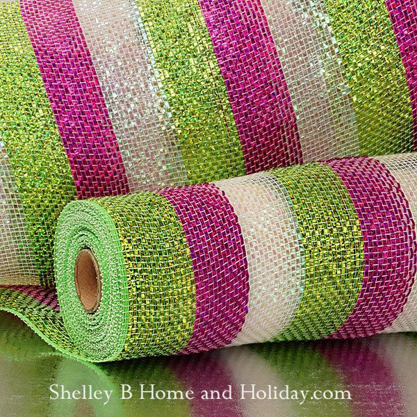 Premium laser metallic deco mesh, candy colors pink, white and green wide stripe. Shelley B Home and Holiday.com