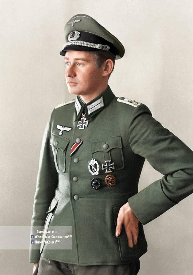 Knight Cross holder Werner Ziegler.  Werner is wearing a 2nd class Iron Cross as a Knight Cross.
