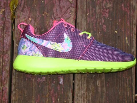 buy online 2d93e 9ae93 Custom Nike Roshe Run- Purple Green Floral Print Swoosh Purple Lime Pink Nike  Roshe Runs ...