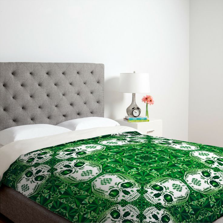 Chobopop Emerald Skull Pattern Duvet Cover | DENY Designs Home Accessories