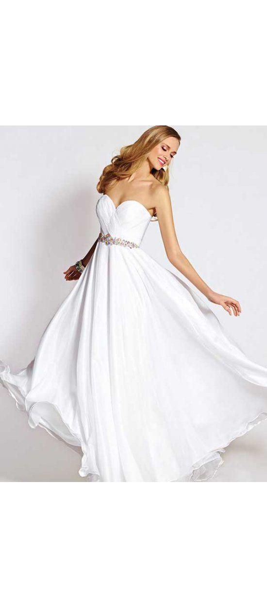 2015 Style A-Linie Herz-Ausschnitt Reißverschluss Bodenlang aus Chiffon Ballkleider/Abendkleider Weiß