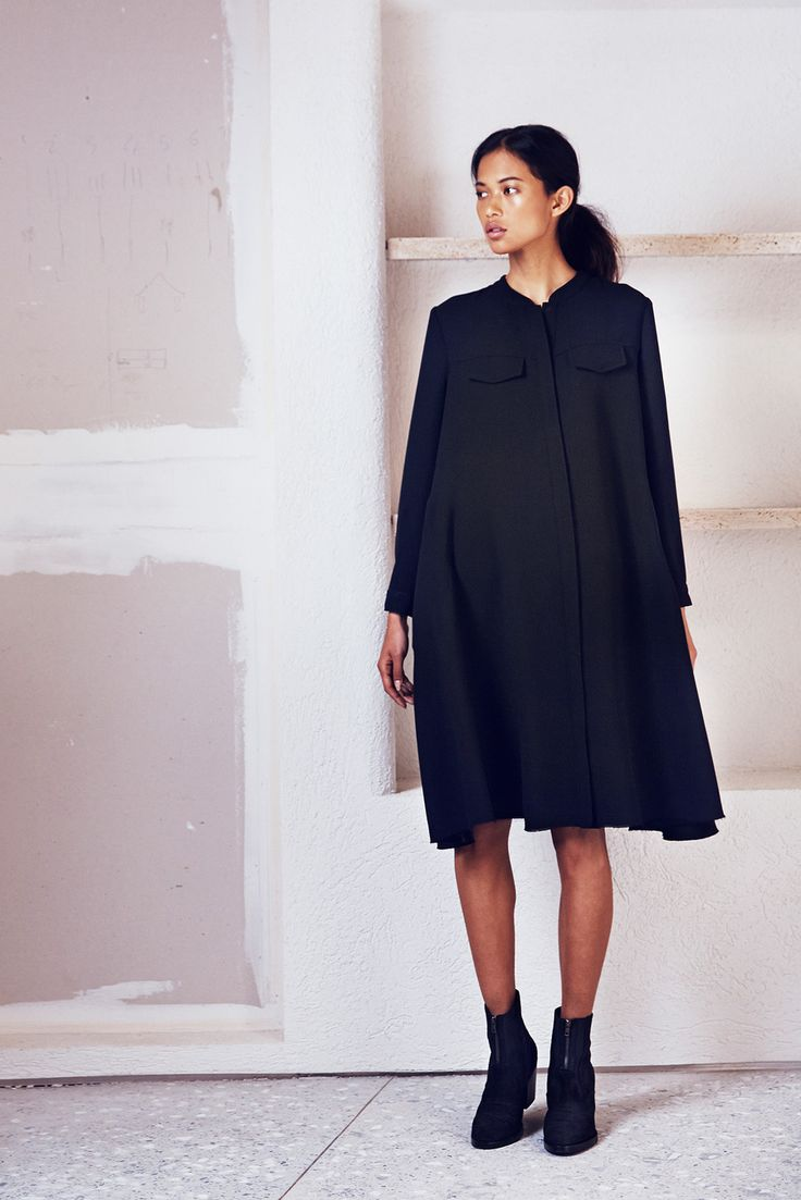 Black shirt dress; Rachel Comey
