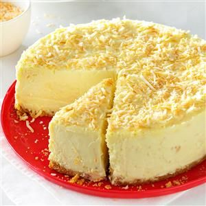 Coconut-White Chocolate Cheesecake Recipe -Friends have suggested over and over that I submit this creation to a magazine because it's so good. For the best texture, make sure not to overmix the batter. —Jamie Harris, Danville, Illinois