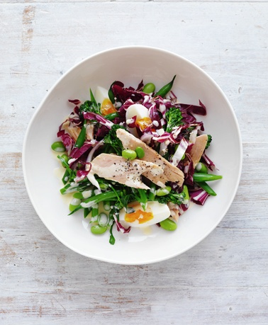 Summer Salads: treviso, broccolini, bean & tuna salad with wasabi ginger dressing. From February marie claire. Photographed by Louise Lister. Recipes and food styled by Kerrie Worner. Props styled by Jane Roarty. Produced by Emma Wheater