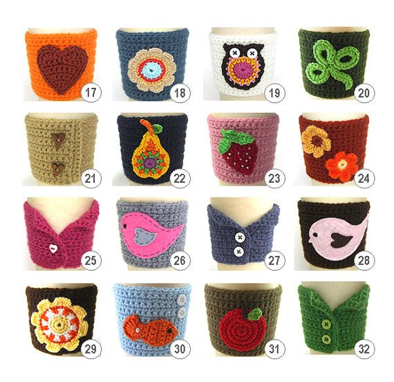 ❥Crochet Tea Cosies, Mug Hug Snugs and Cuppa Cosies.    No pattern, simply inspiration
