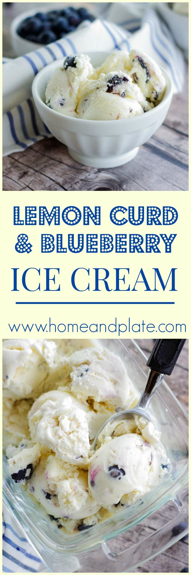 Lemon Curd & Blueberry Ice Cream | www.homeandplate.com | Cool down on a hot summer day with a tart and sweet lemon curd and blueberry ice cream.