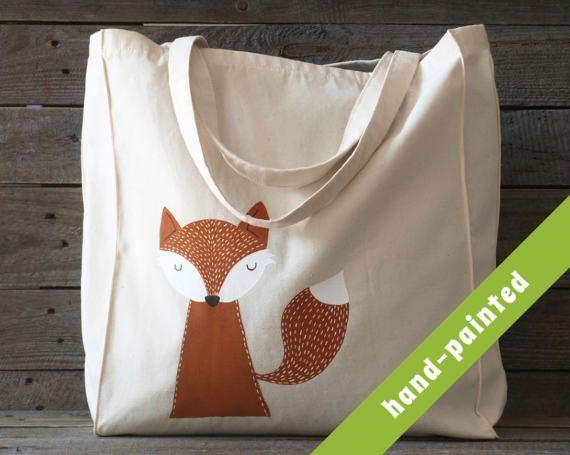 animal bag / fox bag/ fox tote bag/ fox purse/ fox gifts /