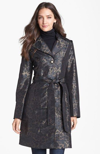 Ellen Tracy Belted Leopard Print Raincoat (Online Only) available at #Nordstrom