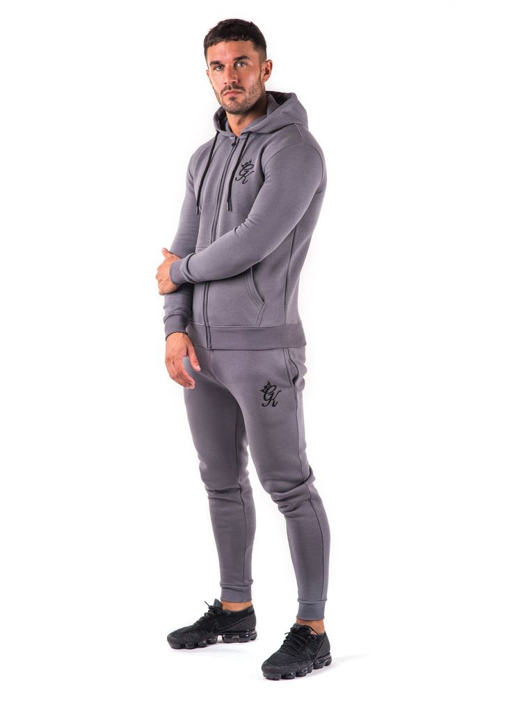 GK Tracksuit Zipped Hoodie - Charcoal