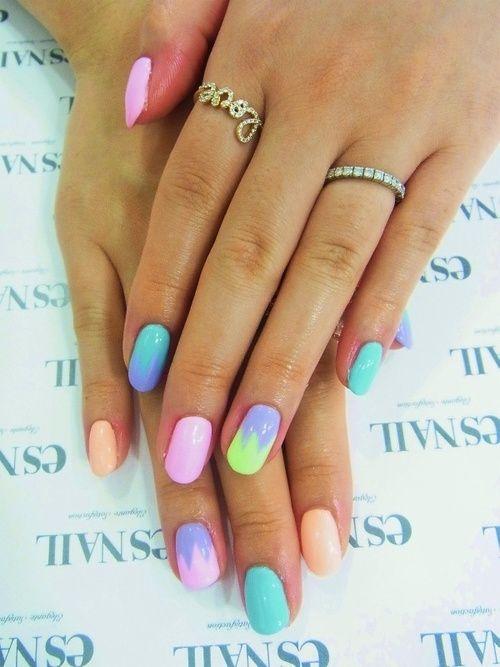 Pastel nails :) #nail art / #nail style / #nail design / #tırnak / #nagel / #clouer / #Auswerfer / #unghie / #爪 / #指甲/ #kuku / #uñas / #नाखून / #ногти / #الأظافر / #ongles / #unhas