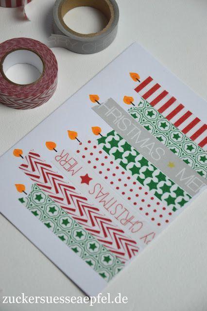 ♥ Zuckersüße Äpfel ♥: Kinderleichte Weihnachtskarten mit Masking Tape selbst gemacht