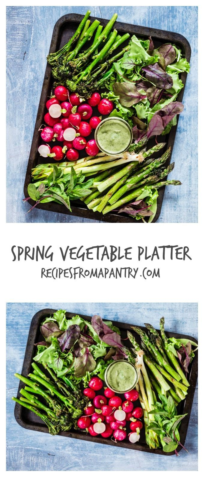 Spring Vegetable Platter And Avocado Green Goddess Dip - asparagus, broccoli, radishes, sorrel and mint - recipesfromapantry.com
