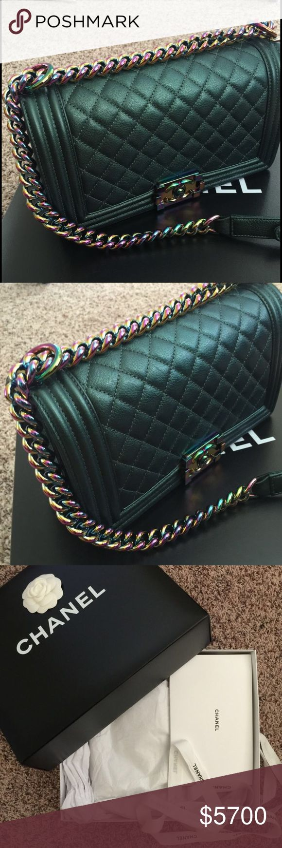 RARE Chanel Iridescent Boy RARE Chanel Iridescent Boy Mermaid Bag Rainbow Hardware. Proof of authentication CHANEL Bags Shoulder Bags