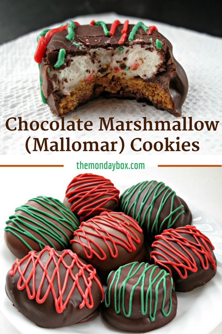 Chocolate Marshmallow (Mallomar) Cookies- This cookie is the first to be grabbed on holiday platters! A graham cracker base topped with a marshmallow and coated in chocolate. Drizzle with colors to match your holiday! | The Monday Box