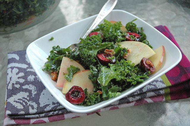 Kale Apple Cherry Salad with Pecans | Eating Well | Pinterest