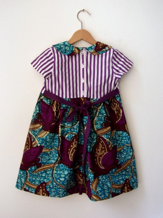 DRESS MIA AFRICA Girl's Dress Striped Top with Collar by BENDITZ