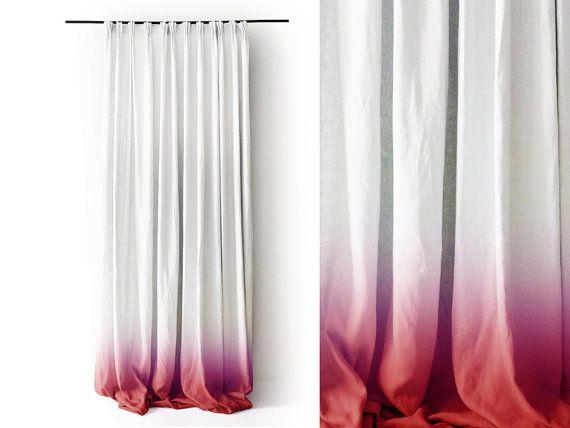 Leinen Vorhang Ombre Red Fade weiße Prise Falte von LovelyHomeIdea