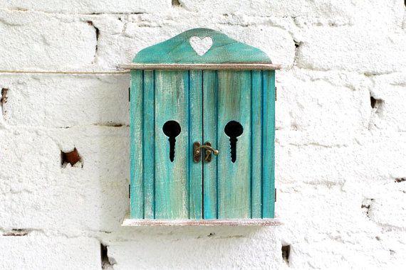 Wooden Key Box Holder Wardrobe Boxes shabby by MyHouseOfDreams, $38.00