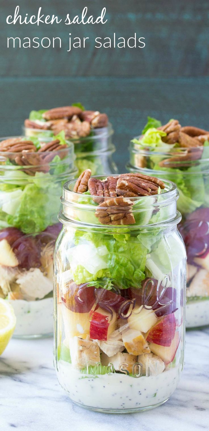 How to make an easy and healthy mason jar salad for make-ahead lunches! These Chicken Salad Mason Jar Salads with grapes, apple, and toasted pecans have a creamy, no mayo poppy seed dressing! | www.kristineskitc...