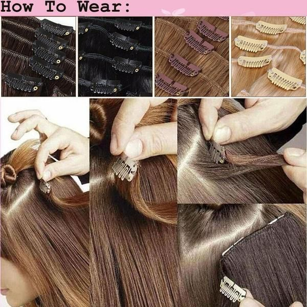 """Inside package: Item:A set of 8 pieces Full Head Hair extensions  One Piece 6.5"""" Wide Weft - 4Clips Per Weft Two Piece 4.8"""" Wide Weft - 3Clips Per Weft Two Pi"""