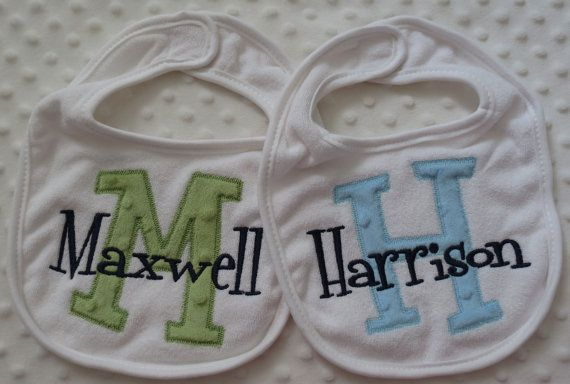 Personalized Gift Set of 2 Baby boy Bibs with by mylittlehedgehog, $23.00