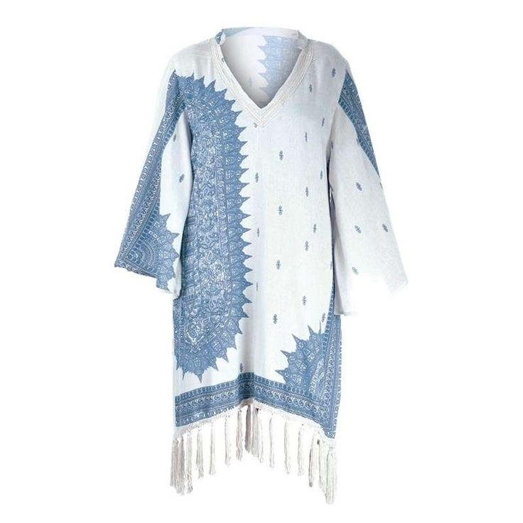 KAFTAN IN BLUE-WHITE COLOR W/FRINGES ONE SIZE (100% COTTON) - Skirts-Dresses - Clothes